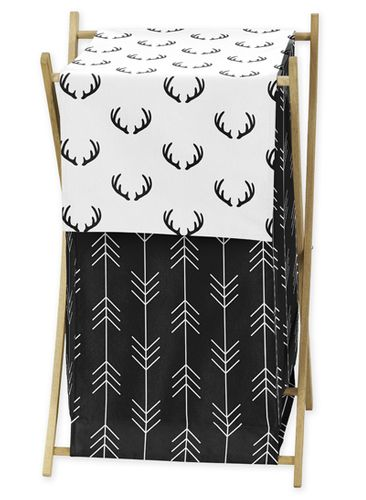 Black and White Woodland Deer Baby Kid Clothes Laundry Hamper by Sweet Jojo Designs - Rustic Country Farmhouse Lumberjack Arrow - Click to enlarge