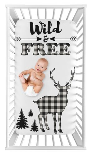 Black and White Woodland Deer Boy Fitted Crib Sheet Baby or Toddler Bed Nursery Photo Op by Sweet Jojo Designs - Buffalo Plaid Check Rustic Country Farmhouse Lumberjack - Click to enlarge