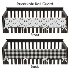 Black and White Woodland Deer Boy Long Front Crib Rail Guard Baby Teething Cover Protector Wrap by Sweet Jojo Designs - Rustic Country Farmhouse Lumberjack Arrow