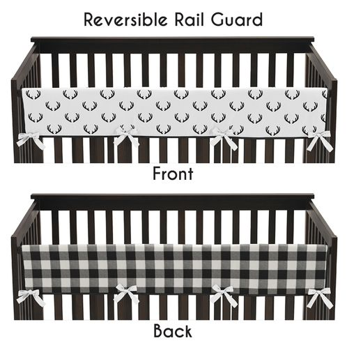 Black and White Woodland Deer Boy Long Front Crib Rail Guard Baby Teething Cover Protector Wrap by Sweet Jojo Designs - Rustic Country Farmhouse Lumberjack Arrow - Click to enlarge
