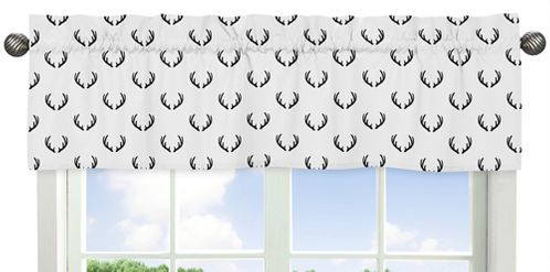 Black and White Woodland Deer Window Treatment Valance by Sweet Jojo Designs - Rustic Country Farmhouse Lumberjack - Click to enlarge