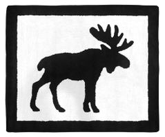 Black and White Woodland Moose Accent Floor Rug or Bath Mat for Blue and Tan Rustic Patch Collection by Sweet Jojo Designs