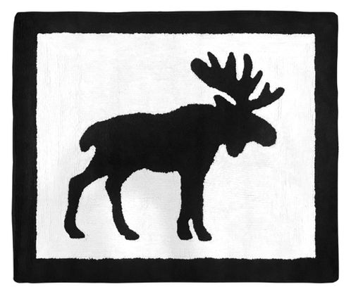 Black and White Woodland Moose Accent Floor Rug or Bath Mat for Blue and Tan Rustic Patch Collection by Sweet Jojo Designs - Click to enlarge