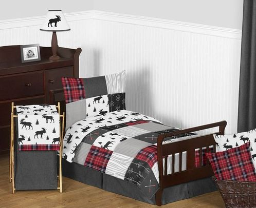 Grey, Black and Red Woodland Plaid and Arrow Rustic Patch Boy Toddler Kid Childrens Bedding Set by Sweet Jojo Designs - 5 pieces Comforter, Sham and Sheets - Flannel Moose Gray - Click to enlarge