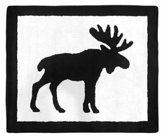 Black and White Woodland Moose Accent Floor Rug or Bath Mat for Rustic Patch Collection by Sweet Jojo Designs