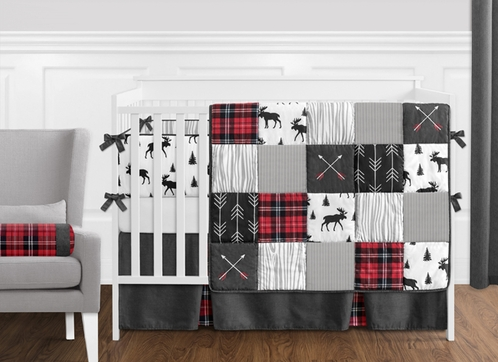 Grey, Black and Red Woodland Plaid and Arrow Rustic Patch Baby Boy Crib Bedding Set with Bumper by Sweet Jojo Designs - 9 pieces - Flannel Moose Gray - Click to enlarge
