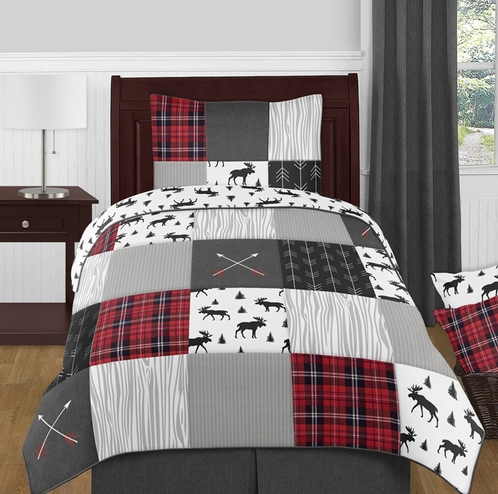 Grey, Black and Red Woodland Plaid and Arrow Rustic Patch Boy Twin Kid Childrens Bedding Comforter Set by Sweet Jojo Designs - 4 pieces - Flannel Moose Gray - Click to enlarge
