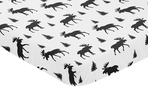 Black and White Woodland Moose Baby Fitted Mini Portable Crib Sheet for Rustic Patch Collection by Sweet Jojo Designs - Click to enlarge