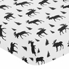 Black and White Woodland Moose Baby or Toddler Fitted Crib Sheet for Rustic Patch Collection by Sweet Jojo Designs