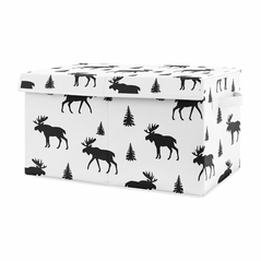 Black and White Woodland Moose Boy Baby Nursery or Kids Room Small Fabric Toy Bin Storage Box Chest for Rustic Patch Collection by Sweet Jojo Designs