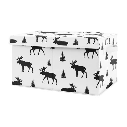 Black and White Woodland Moose Boy Baby Nursery or Kids Room Small Fabric Toy Bin Storage Box Chest for Rustic Patch Collection by Sweet Jojo Designs - Click to enlarge