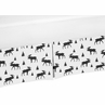 Black and White Woodland Moose Boy Pleated Crib Bed Skirt Dust Ruffle for Rustic Patch Collection by Sweet Jojo Designs
