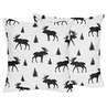 Black and White Woodland Moose Decorative Accent Throw Pillows for Rustic Patch Collection by Sweet Jojo Designs - Set of 2