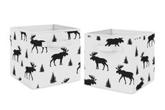 Black and White Woodland Moose Organizer Storage Bins for Rustic Patch Collection by Sweet Jojo Designs - Set of 2
