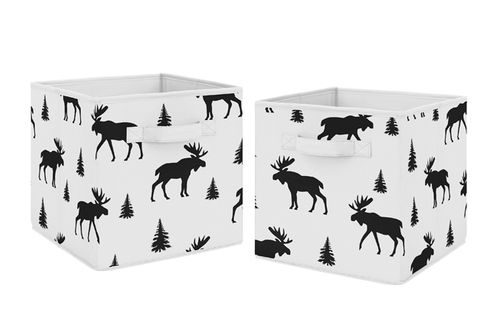 Black and White Woodland Moose Organizer Storage Bins for Rustic Patch Collection by Sweet Jojo Designs - Set of 2 - Click to enlarge