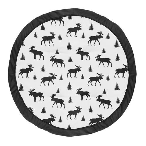 Black and White Woodland Moose Playmat Tummy Time Baby and Infant Play Mat for Rustic Patch Collection by Sweet Jojo Designs - Click to enlarge