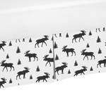 Black and White Woodland Moose Pleated Queen Bed Skirt Dust Ruffle for Rustic Patch Collection by Sweet Jojo Designs