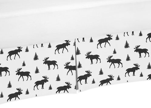 Black and White Woodland Moose Pleated Queen Bed Skirt Dust Ruffle for Rustic Patch Collection by Sweet Jojo Designs - Click to enlarge