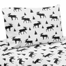 Black and White Woodland Moose Queen Sheet Set for Rustic Patch Collection by Sweet Jojo Designs - 4 piece set