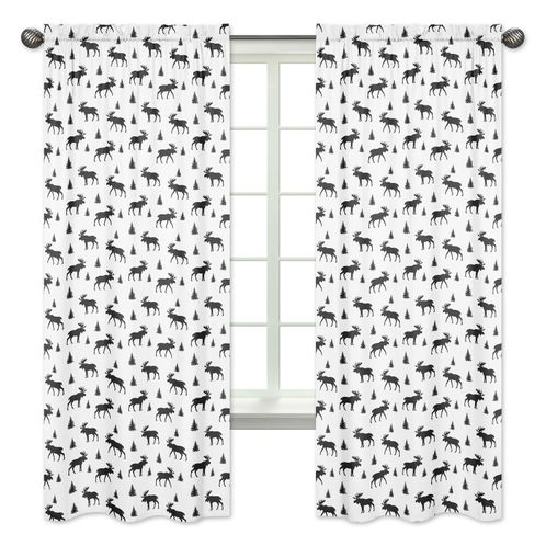 Black and White Woodland Moose Window Treatment Panels Curtains for Rustic Patch Collection by Sweet Jojo Designs - Set of 2 - Click to enlarge