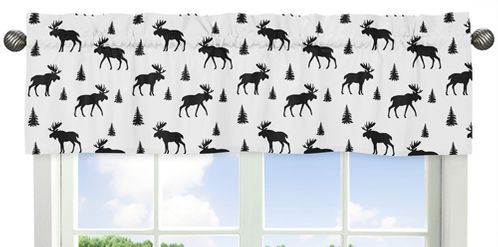 Black and White Woodland Moose Window Treatment Valance for Rustic Patch Collection by Sweet Jojo Designs - Click to enlarge