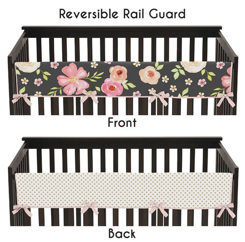 Black, Blush Pink and Gold Long Front Crib Rail Guard Baby Teething Cover Protector Wrap for Watercolor Floral Collection by Sweet Jojo Designs - Rose Flower Polka Dot - Click to enlarge
