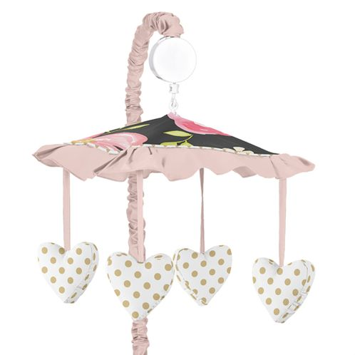 Black, Blush Pink and Gold Musical Baby Crib Mobile for Watercolor Floral Collection by Sweet Jojo Designs - Rose Flower - Click to enlarge