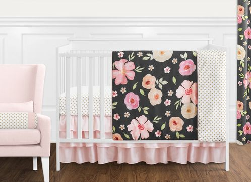 Black, Blush Pink and Gold Shabby Chic Watercolor Floral Baby Girl Crib Bedding Set without Bumper by Sweet Jojo Designs - 11 pieces - Rose Flower Polka Dot - Click to enlarge