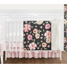 Black, Blush Pink and Gold Shabby Chic Watercolor Floral Baby Girl Crib Bedding Set without Bumper by Sweet Jojo Designs - 4 pieces - Rose Flower Polka Dot
