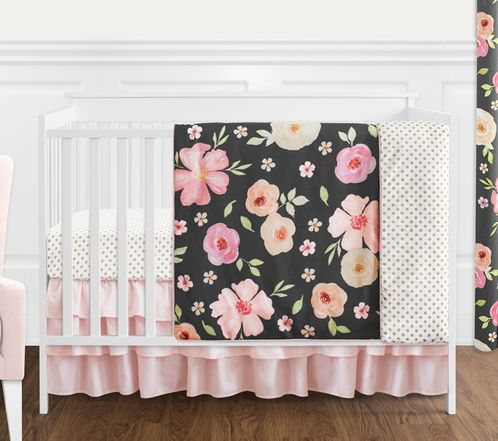 Black, Blush Pink and Gold Shabby Chic Watercolor Floral Baby Girl Crib Bedding Set without Bumper by Sweet Jojo Designs - 4 pieces - Rose Flower Polka Dot - Click to enlarge