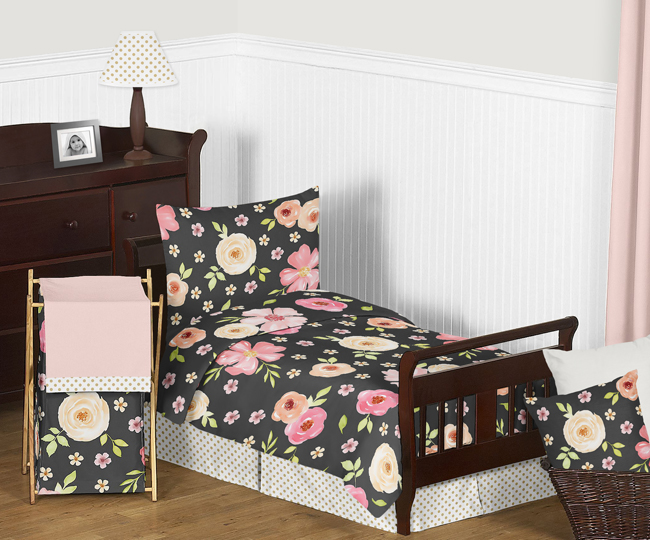 Black Blush Pink And Gold Shabby Chic, Pink And Gold Toddler Bedding Set