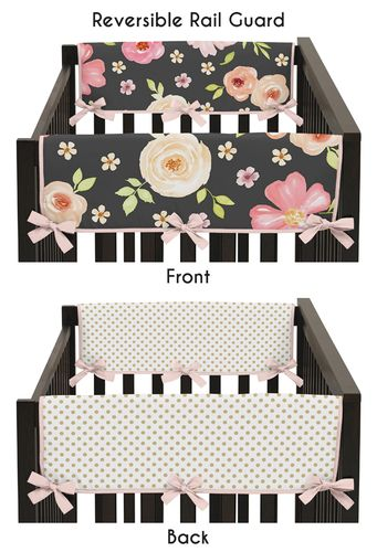 Black, Blush Pink and Gold Side Crib Rail Guards Baby Teething Cover Protector Wrap for Watercolor Floral Collection by Sweet Jojo Designs - Set of 2 - Rose Flower Polka Dot - Click to enlarge