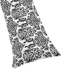 Black Damask Full Length Double Zippered Body Pillow Case Cover for Sweet Jojo Designs Sloane Sets