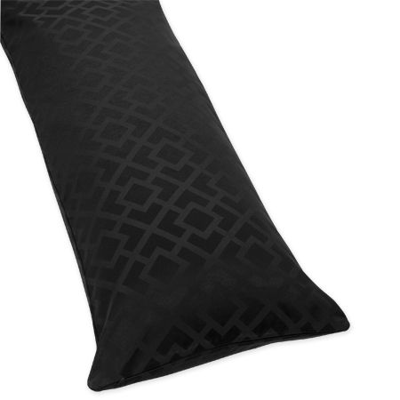 Black Diamond Jacquard Modern Full Length Double Zippered Body Pillow Case Cover by Sweet Jojo Designs - Click to enlarge