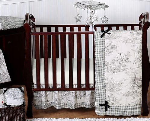 Black French Toile Baby Bedding - 11pc Crib Set - Click to enlarge