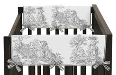 Black French Toile Baby Crib Side Rail Guard Covers by Sweet Jojo Designs - Set of 2