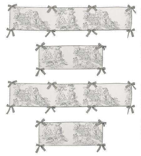 Black French Toile Collection Crib Bumper by Sweet Jojo Designs - Click to enlarge