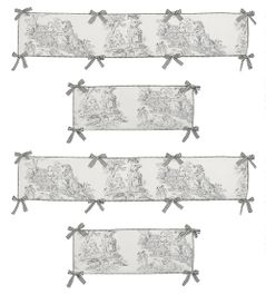 Black French Toile Collection Crib Bumper by Sweet Jojo Designs