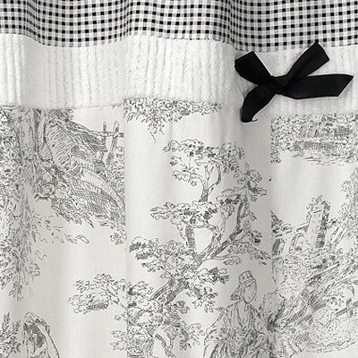 Black French Toile Kids Bathroom Fabric