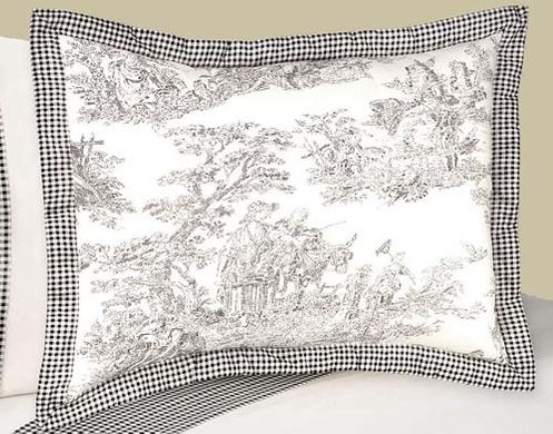 Black French Toile Pillow Sham - Click to enlarge