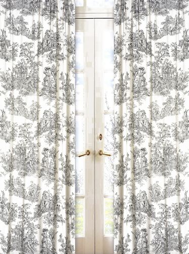 Black French Toile Window Treatments Panels - Set of 2 - Click to enlarge