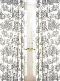 Black French Toile Window Treatments Panels - Set of 2