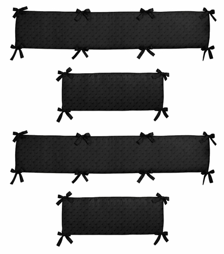 Black Minky Dot Collection Crib Bumper by Sweet Jojo Designs - Click to enlarge