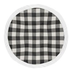Black Plaid Boy Girl Baby Playmat Tummy Time Infant Play Mat by Sweet Jojo Designs - White Rustic Woodland Buffalo Check Flannel Country Lumberjack