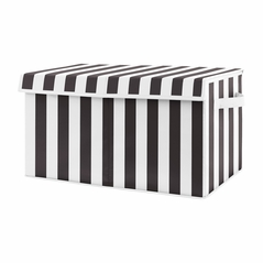 Black Stripe Boy or Girl Small Fabric Toy Bin Storage Box Chest For Baby Nursery or Kids Room by Sweet Jojo Designs - Black and White for Paris Collection Gender Neutral