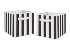 Black Stripe Foldable Fabric Storage Cube Bins Boxes Organizer Toys Kids Baby Childrens by Sweet Jojo Designs - Set of 2 - Black and White for Paris Collection Gender Neutral