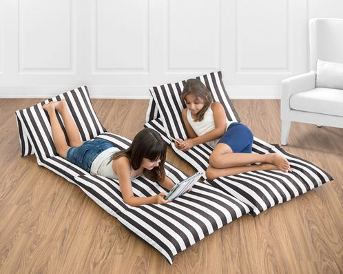 Black Stripe Kids Teen Floor Pillow Case Lounger Cushion Cover for Paris Collection by Sweet Jojo Designs - Click to enlarge