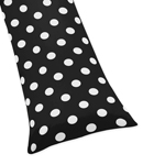 Black White Polka Dot Full Length Double Zippered Body Pillow Case Cover for Sweet Jojo Designs Hot Dot Sets