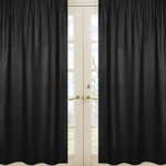 Black Window Treatment Panels for Black and White Chevron Collection - Set of 2
