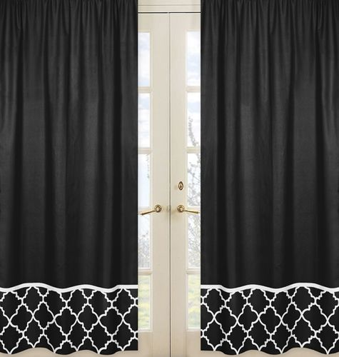 Black Window Treatment Panels for Black and White Trellis Collection - Set of 2 - Click to enlarge